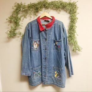Vintage winter Pooh bear denim jacket/shirt